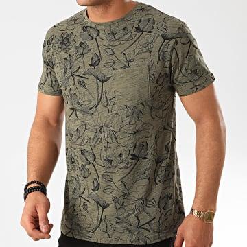MZ72 - Tee Shirt Poche Tchat Vert Kaki Chiné Floral
