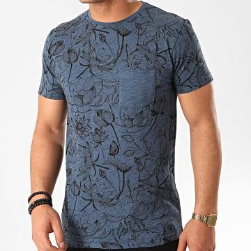 MZ72 - Tee Shirt Poche Tchat Bleu Marine Chiné Floral
