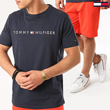 Tommy Hilfiger - Ensemble Tee Shirt Short Jogging Jersey 1794 Bleu Marine Orange