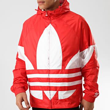 Adidas Originals - Veste Zippée Capuche Big Trefoil FM7076 Rouge Blanc