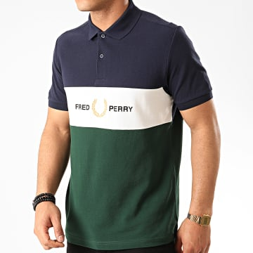 Fred Perry - Polo Manches Courtes Embroidered Panel M8549 Bleu Marine Vert
