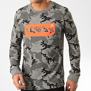Superdry - Tee Shirt Manches Longues Camouflage Core Logo Tag M1010046B Gris Chiné