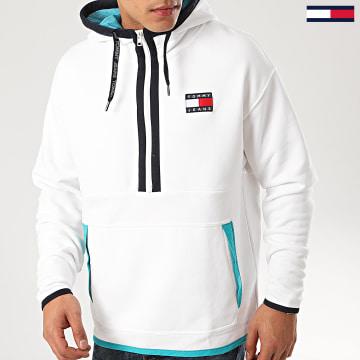 Tommy Jeans - Sweat Capuche Col Zippé Contrast 7882 Blanc