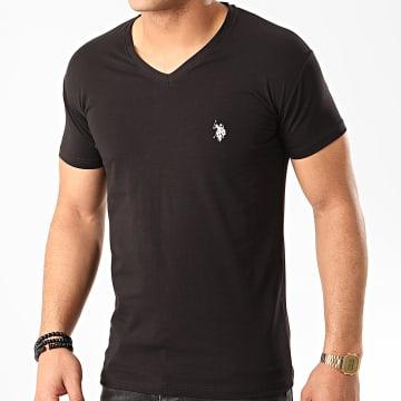 US Polo ASSN - Tee Shirt Col V Double Horse Noir