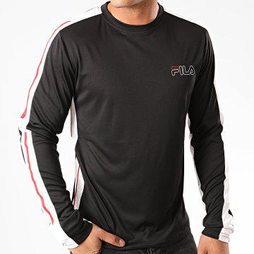 Fila - Tee Shirt Manches Longues A Bandes Adis 683058 Noir