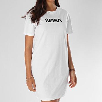 NASA - Tee Shirt Robe Femme Worm Logo Blanc