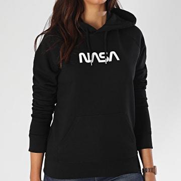 NASA - Sweat Capuche Femme Worm Logo Noir