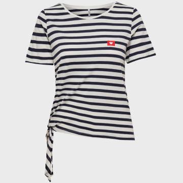 Only - Tee Shirt Femme A Rayures Brave Life Blanc Bleu Marine