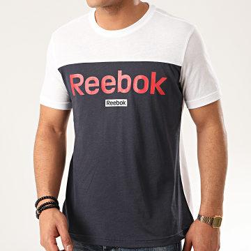 Reebok - Tee Shirt Linear Logo FS1634 Blanc Bleu Marine
