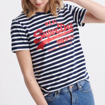 Superdry - Tee Shirt Femme Satin Stripe Entry Bleu Marine Blanc