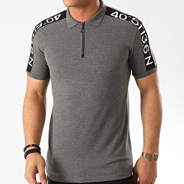 Classic Series - Polo Manches Courtes A Bandes 2196 Gris Anthracite Chiné