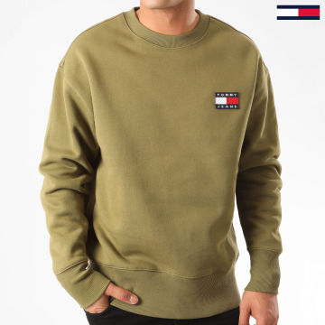 Tommy Jeans - Sweat Crewneck Tommy Badge 6592 Vert Kaki