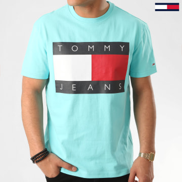 Tommy Jeans - Tee Shirt Tommy Flag 7009 Turquoise