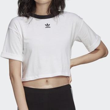 Adidas Originals - Tee Shirt Crop Femme FM2556 Blanc