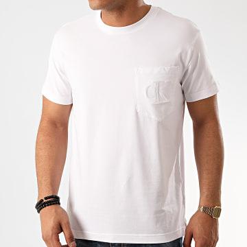 Calvin Klein - Tee Shirt Poche Tonal Pocket Monogram 4763 Blanc