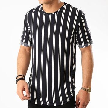 Frilivin - Tee Shirt Oversize A Rayures 13883 Bleu Marine