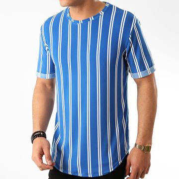Frilivin - Tee Shirt Oversize A Rayures 13883 Bleu Roi