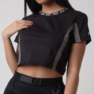 Project X - Tee Shirt Crop Femme F201059 Noir Réfléchissant