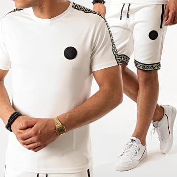 Zelys Paris - Ensemble Short Tee Shirt A Bandes Fares Blanc Doré