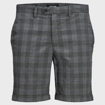 Jack And Jones - Short Chino A Carreaux Connor Akm 916 Gris Anthracite