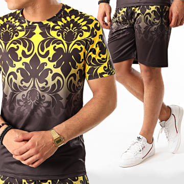 Zayne Paris  - Ensemble Short Tee Shirt Renaissance E82-1 Gris Anthracite Jaune