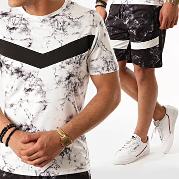 Zayne Paris  - Ensemble Short Tee Shirt E83-2 Blanc Gris Anthracite