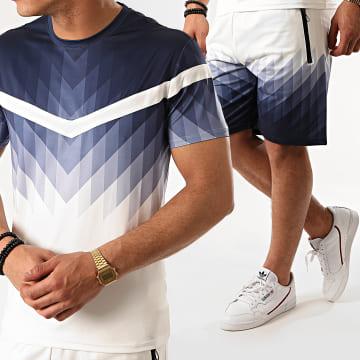 Zayne Paris  - Ensemble Short Tee Shirt E91-3 Blanc Bleu