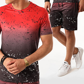 Zayne Paris  - Ensemble Short Tee Shirt E81-1 Rouge Noir