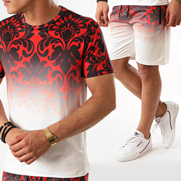 Zayne Paris  - Ensemble Short Tee Shirt Renaissance E82-3 Rouge Blanc
