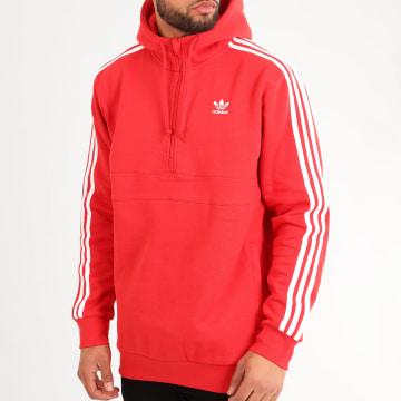 Adidas Originals - Sweat Capuche Col Zippé A Bandes FM3763 Rouge