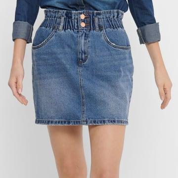 Only - Jupe Femme Paperbag 15195868 Bleu Denim