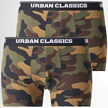 Urban Classics - Lot De 2 Boxers Camouflage TB2047 Vert Kaki Gris Anthracite