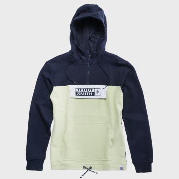 Teddy Smith - Sweat Capuche Col Zippé Lyam Bleu Marine Jaune