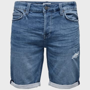Only And Sons - Short Jean Regular Ply Bleu Denim