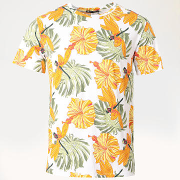 Aarhon - Tee Shirt 19-009D Floral Blanc Jaune