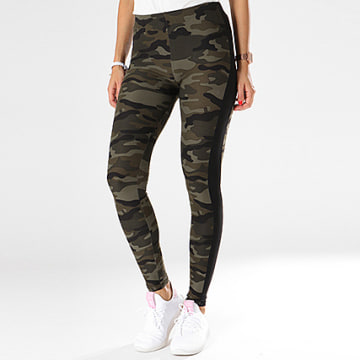 Urban Classics - Legging Femme A Bandes TB1530 Vert Kaki Camouflage