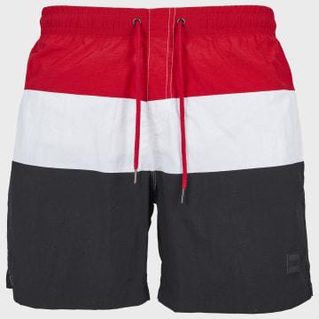 Urban Classics - Short De Bain TB2051 Tricolore Noir Blanc Rouge