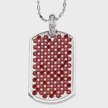 California Jewels - Pendentif Baller Dog Tag Chrome Rouge