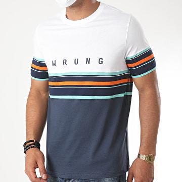 Wrung - Tee Shirt Mid Stripes Bleu Marine Blanc