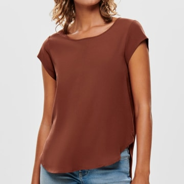 Only - Tee Shirt Femme Vic 15142784 Rouge Brique