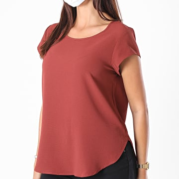 Only - Tee Shirt Femme Vic 15142784 Rouge Brique