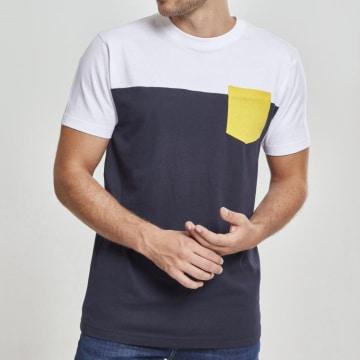 Urban Classics - Tee Shirt Poche TB969 Bleu Marine Blanc