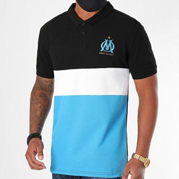 OM - Polo Manches Courtes Fan Color Block Bleu Clair Blanc Noir