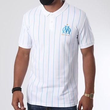 OM - Polo Manches Courtes Fan Rayé Blanc