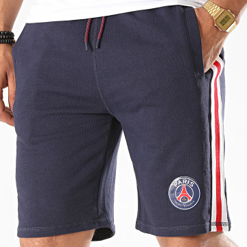 PSG - Short Jogging A Bandes Paris Saint-Germain Bleu Marine