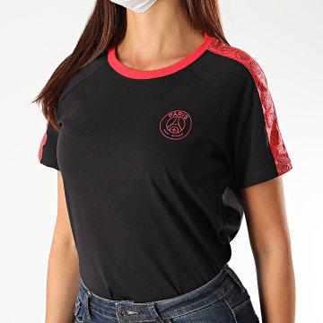 PSG - Tee Shirt A Bandes Femme Logo Gris Anthracite