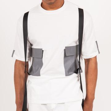 Sixth June - Tee Shirt Poche M4099VTS Blanc Réflechissant