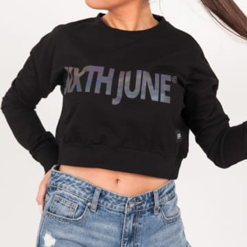 Sixth June - Sweat Crewneck Crop Femme W4090KSW Noir Réfléchissant