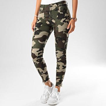 Girls Only - Jean Skinny Femme CK1855 Camouflage Vert Kaki