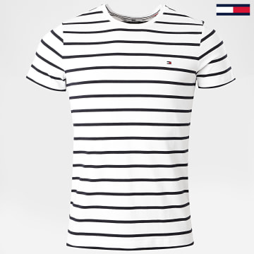 Tommy Hilfiger - Tee Shirt MW0MW10800 Blanc Bleu Marine